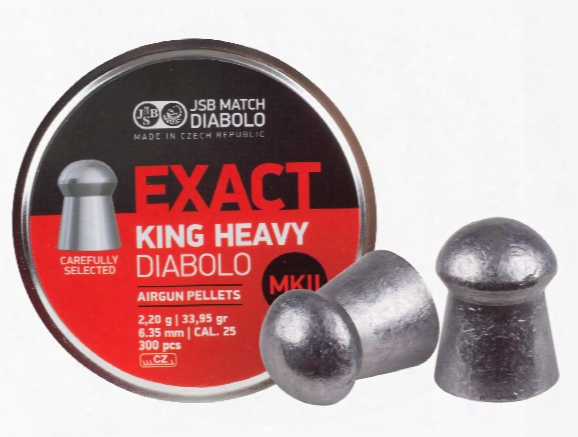 Jsb Match Diabolo Exact King Mkii Heavy .25 Cal, 33.95 Grains, Domed, 300ct