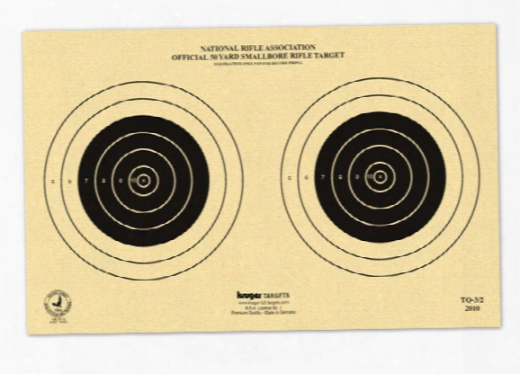 "Kruger Nra 50 Yd Smallbore Rifle Target, 14""x9"", 2 Bulls/sheet, 100ct"