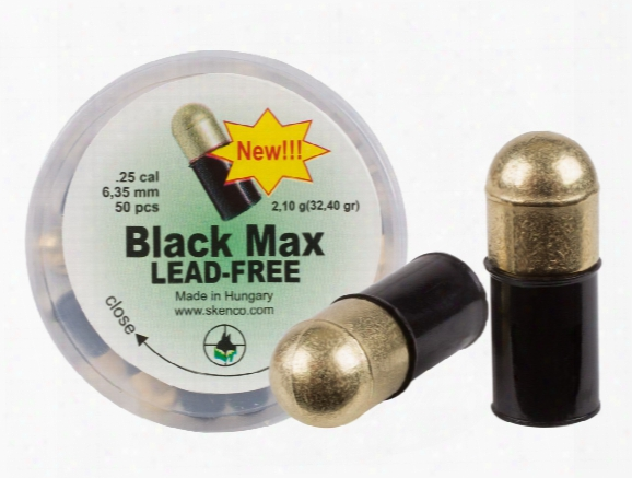 Skenco Black Max Lead-free Pellets, .25 Cal, 32.40 Grains, Domed 50ct