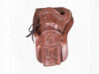 "Western Justice Hand-tooled Leather Holster, 6"", Mahogany, Left Hand"