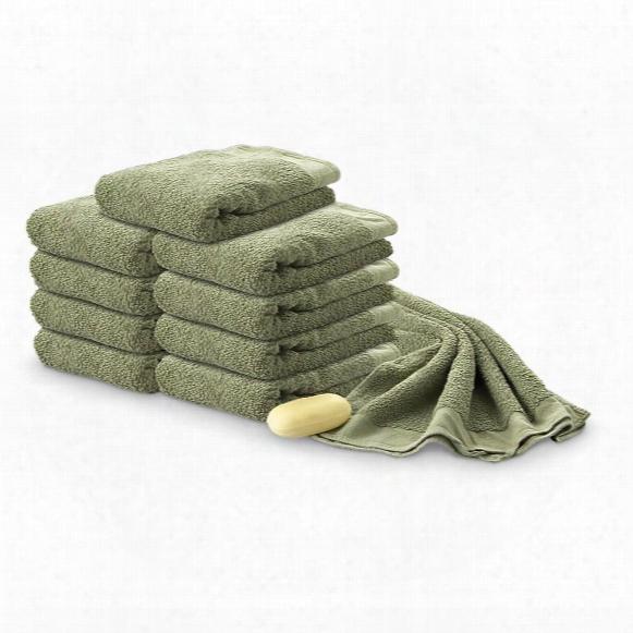 10 Used German Military Surplus Cotton Towels, Olive Drab