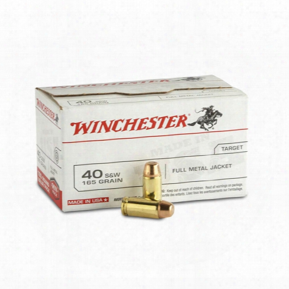 100 Rds. Of Winchester .40 S&w 165 Grain Fmj Value Pack Ammo
