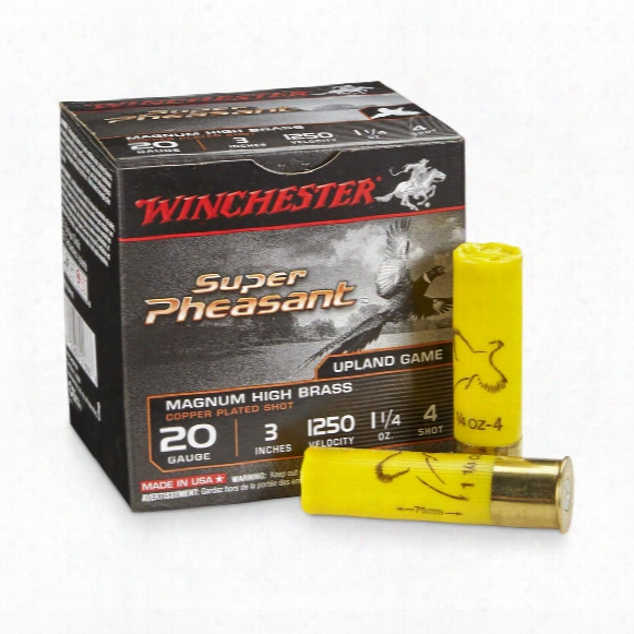 "25 Rds. Winchester 20 Gauge 3"" 1 1/4 Oz. Super-x Super Pheasant Copper Plated Shotshells"