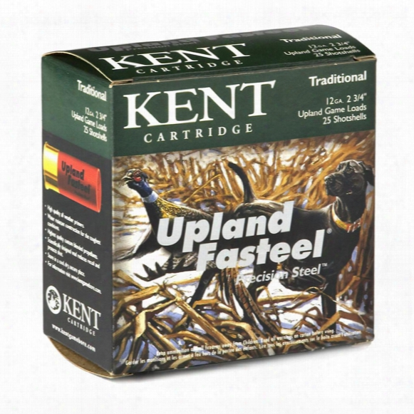 "25 Rounds Kent Upland Fasteel Precision Steel 12 Gauge 2 3/4"", 1 Oz."