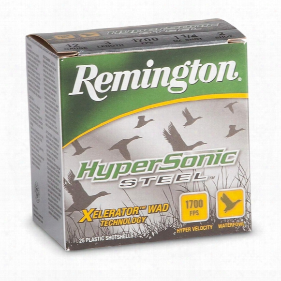 "25 Rounds Remington 3"" Hypersonic Steel 1 1/8-oz. 12 Gauge Shotshells"