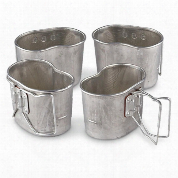 4 - Pk. Of Used French Military Surplus Butterfly Canteen Cups