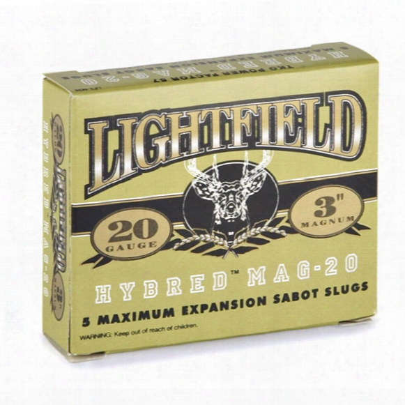 "Box Of 5 Lightfield Magnum Hybred Exp 20 Gauge 3"" 7/8-oz. Sabot Slugs"