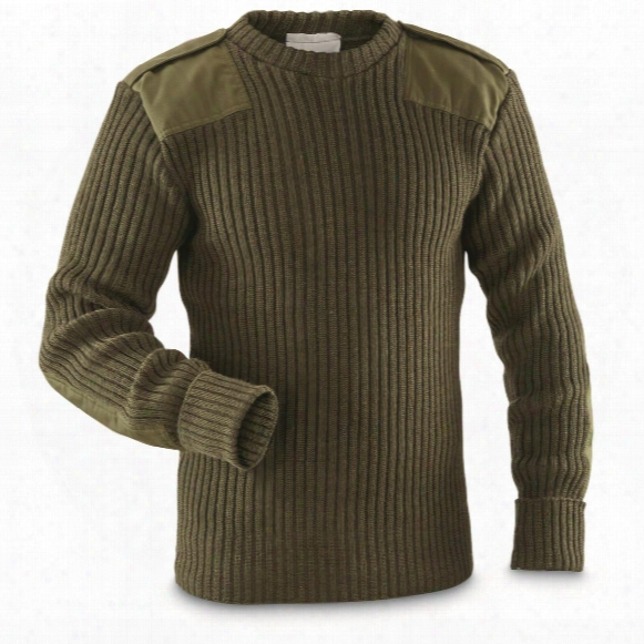 British Military Surplus Commando Wool Sweater, Olive Drab, Used