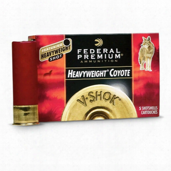 "Federal Premium V-shok Heavyweight Coyote, 12 Gauge, 3"" Shell, 1 1/2 Oz. Bb, Tungsten, 5 Shotshells"