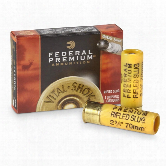 "Federal, Tribal, 20 Gauge, 2 3/4"" Shell, 3/4 Oz. Slugs, 5 Rounds"