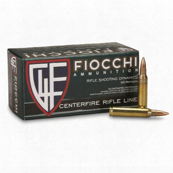 Fiocchi, .223 Remington, Fmjbt, 55 Grain, 50 Rounds