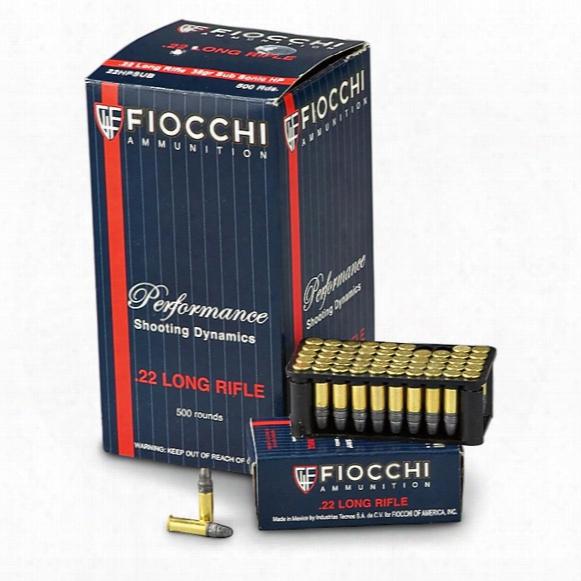 Fiocchi, .22lr, 40 Grain, Sub-sonic Hp, 500 Rounds