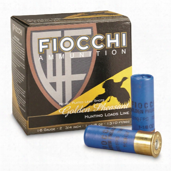 "Fiocchi, Golden Pheasant, 16 Gauge, 2 3/4"" Shells, 1 1/8 Oz., Nickel Plated, 25 Rounds"
