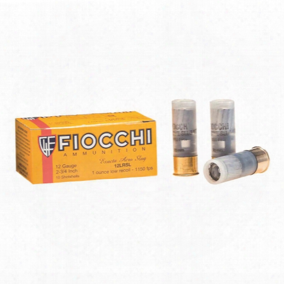 "Fiocchi, Low Recoil Rifle, 12 Gauge, 2.75"", 1 Oz., Slug Shot, 10 Rounds"
