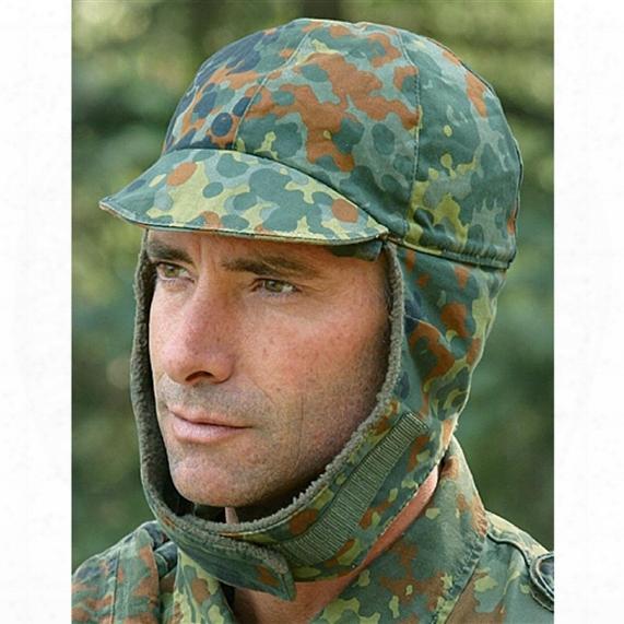 German Military Surplus Fleck Camo Winter Caps, 5 Pack, Used