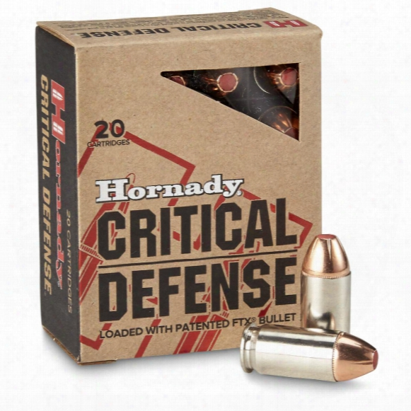 Hornady Critical Defense, .45 Acp, Ftx, 185 Grain, 20 Rounnds