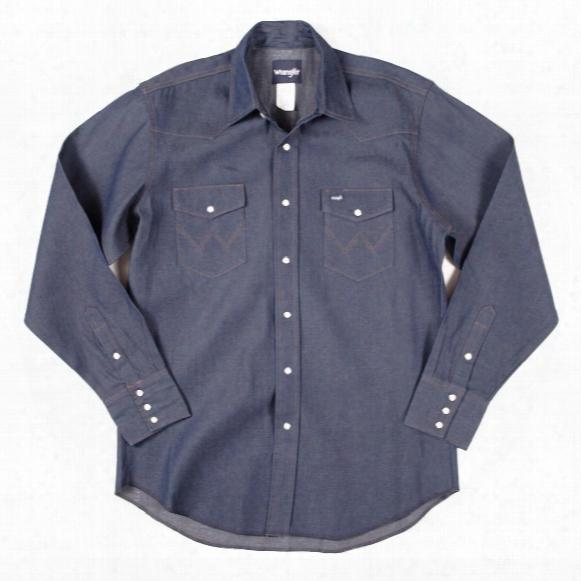 Men's Wrangler® Cowboy Cut® Long Sleeve Shirt, Denim Blue