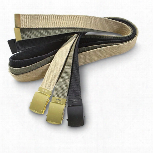 Military-style Web Belts With Roller Buckles, 3 Pack