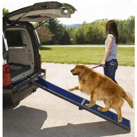 Pet Gear® Travel Lite Bi - Fold Full Ramp, Black / Blue