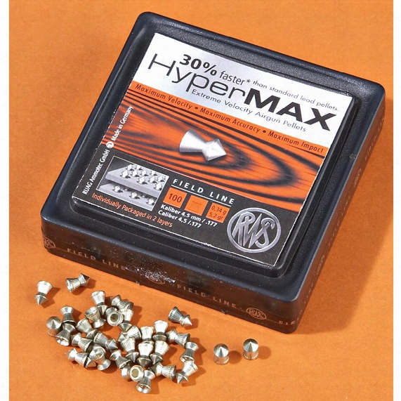 Rws Hypermax Pelllets, .177 Caliber, 4.5 Grain, 100 Pack