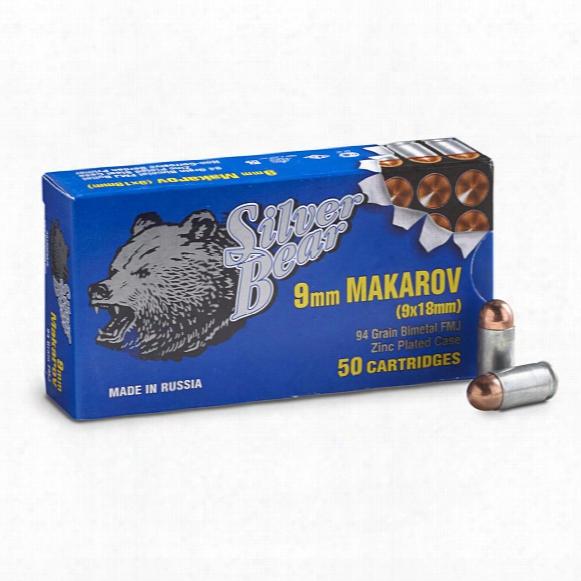 Silver Bear, 9x18mm Makarov, Fmj, 94 Grain, 1,000 Rounds