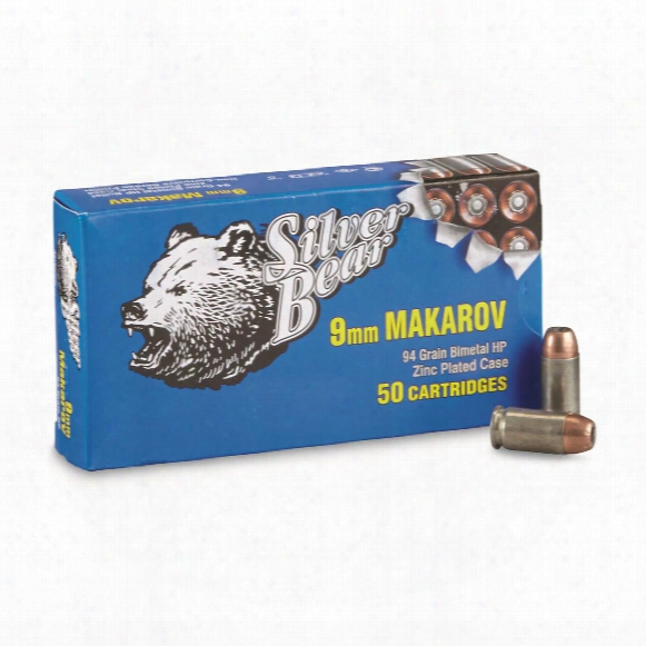 Silver Bear, 9x18mm Makarov, Hp, 94 Grain, 50 Rounds