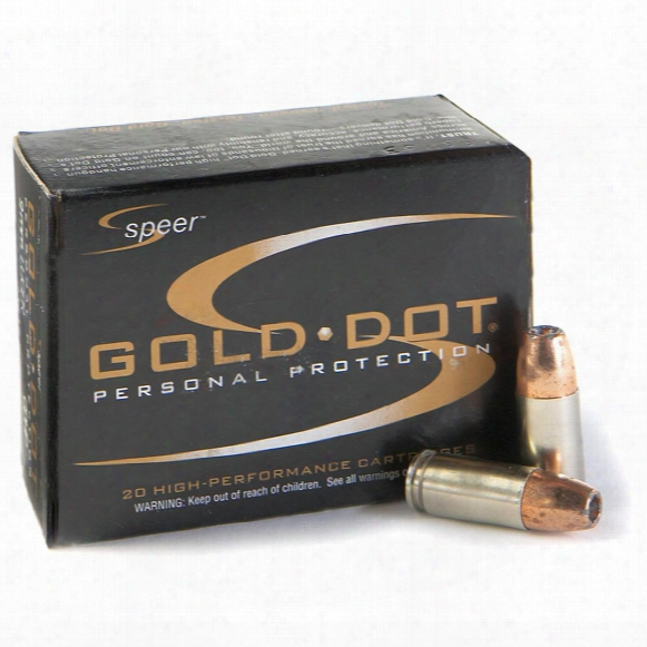 Speer Gold Dot, 9mm Luger+p, Hp, 124 Grain, 20 Rounds