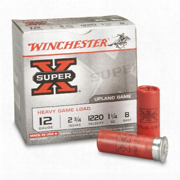 "Winchester, 12 Gauge 2 3/4"" 1 1/4 Oz., Super-x Heavy Game Field Shotshells, 25 Rounds"
