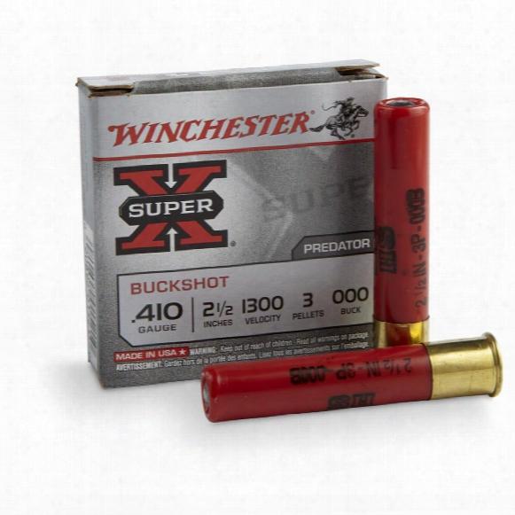 """Winchester Super-x, .410, 2 1/2"""" Shells, 000 Buckshot, 3 Pellets, 5 Rounds"""
