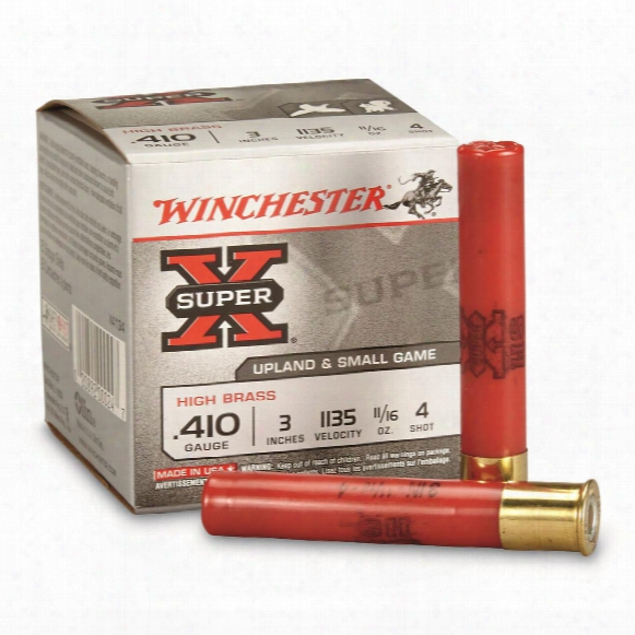 "Winchester, Super-x High Brass Game Loads, 410 Gauge, 3"" 11/16 Ozs., 25 Rounds"