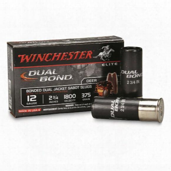 "Winchester Supreme Elite, 12 Gauge, 2 3/4"" Slugs, 375 Grain, Dual Band, 5 Rounds"