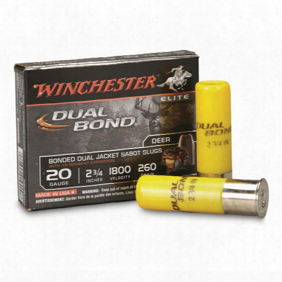 "Winchester Supreme Elite, 20 Gauge, 2 3/4"", Dual Band Shotgun Slugs, 260 Grain, 5 Rounds"