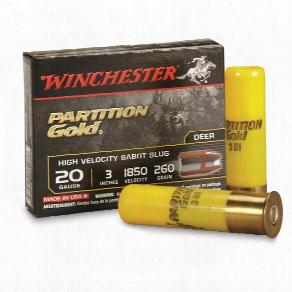 "Winchester, Supreme Partition Gold, 20 Gauge, 3"", Sabot Slug, 260 Grain, 5 Rounds"