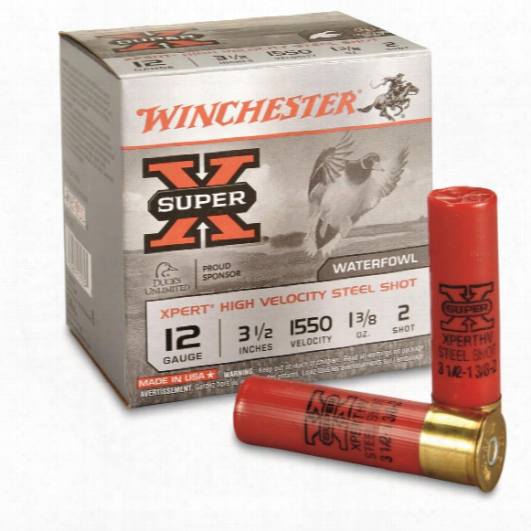 "Winchester Xpert Steel, 12 Gauge, 3 1/2"" 1 3/88 Oz., Waterfowl Shotshells, 25 Rounds"