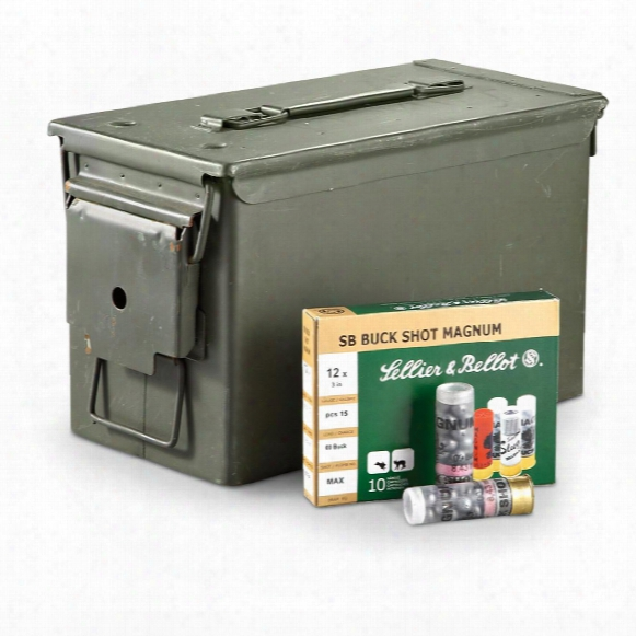 """100 Rounds Sellier & Bellot 12 Gauge 3"""" 00 Buckshot Ammo With Can"""