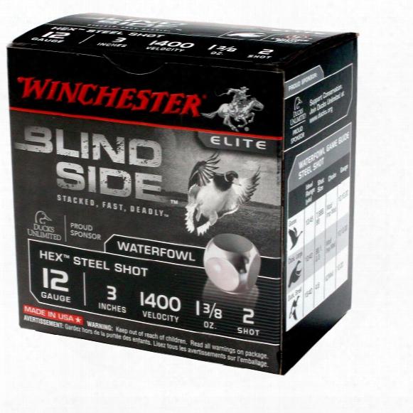 "25 Rounds 12 Gauge Winchester Blindside 3"" #2 Steel Shotshells"