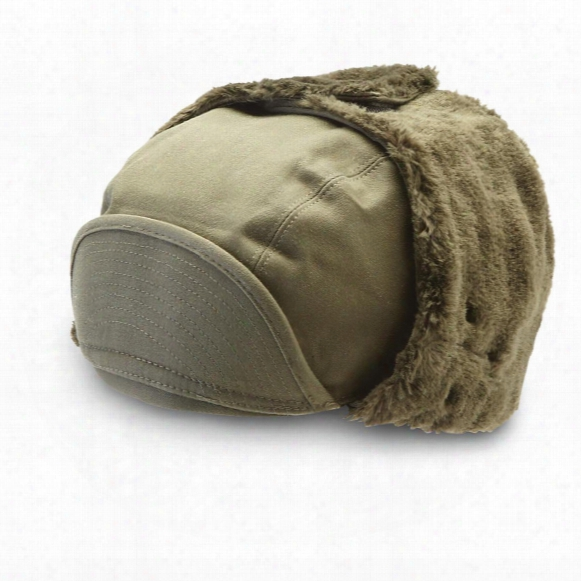 3 New French Military Surplus Winter Caps, Olive Drab