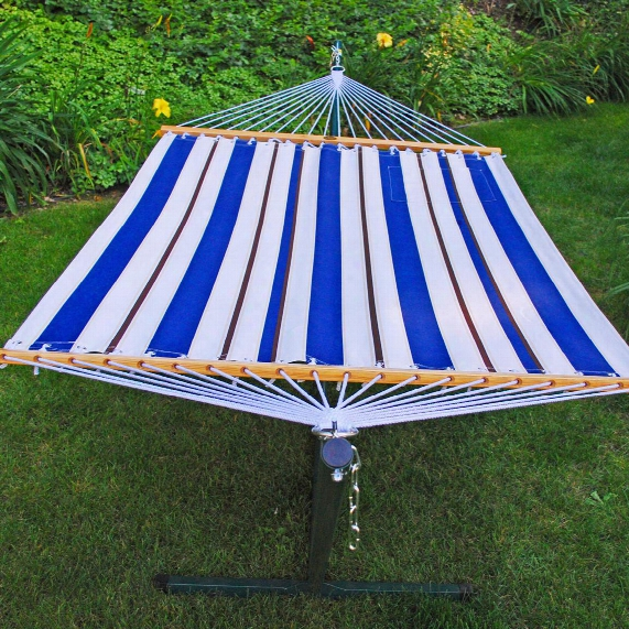 Algoma 11' Fabric Hammock And Stand Combination, Blue / White