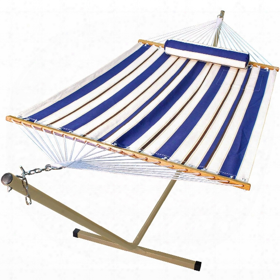 Algoma 11' Fabric Hammock, Pillow And Stand Combination, Blue / White