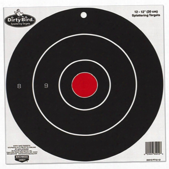"Birchwood Casey® 12"" Dirty Bird® Bull's Eye Splattering Target 100 - Sheet Pack"