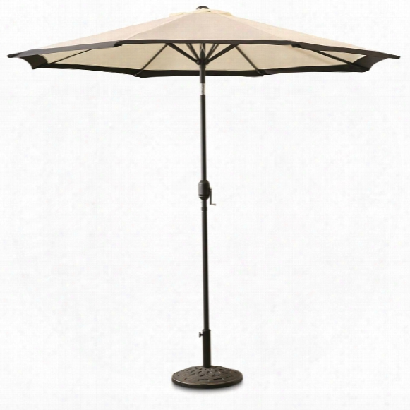 Castlecreek 9' Two-tone Deluxe Market Patio Umbrella, Khaki / Black