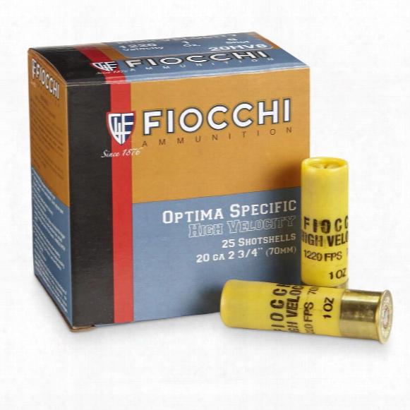 "Fiocchi, 20 Gauge, 2 3/4"" 1 Ozs., High Velocity Loads, 25 Rounds"