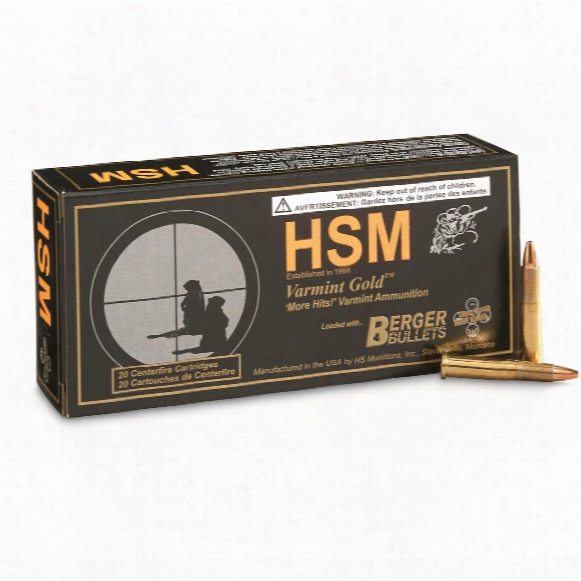 Hsm Varmint Gold, .22 Hornet, Mvfb Rifle, 40 Grain, 20 Rounds