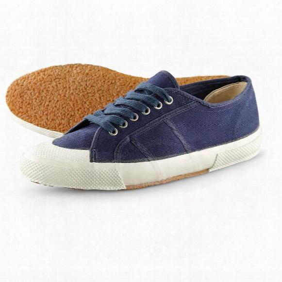Men's Italian Navy Surplus Canvas Deck Shoes, New