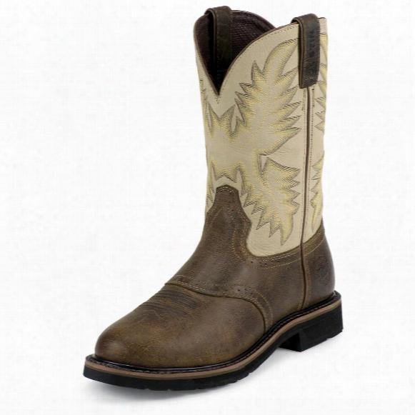 "Men's Justin® 11"" Stampede Steel Toe Eh Western Boots, Waxy Brown"