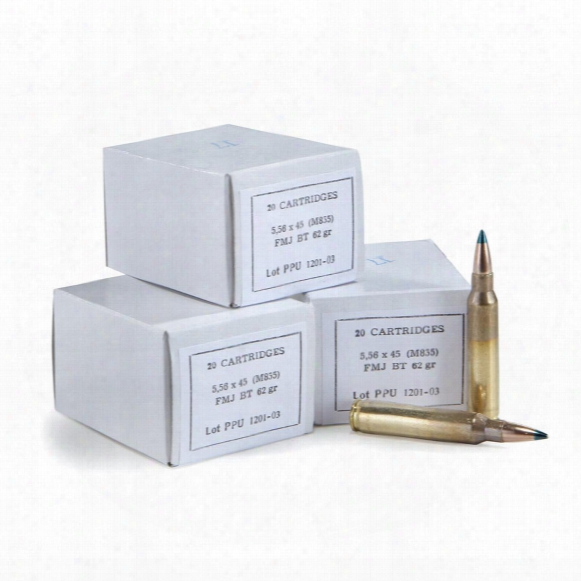 Ppu, .223 5.56x45mm, M855, Fmj Bt, 62 Grain, 1,000 Rounds