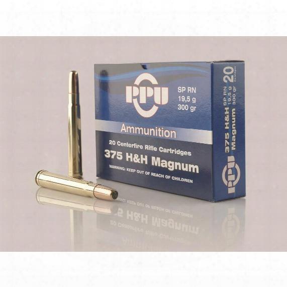 Ppu, .375 H&h Magnum, Sp-rn,, 300 Grain, 20 Rounds