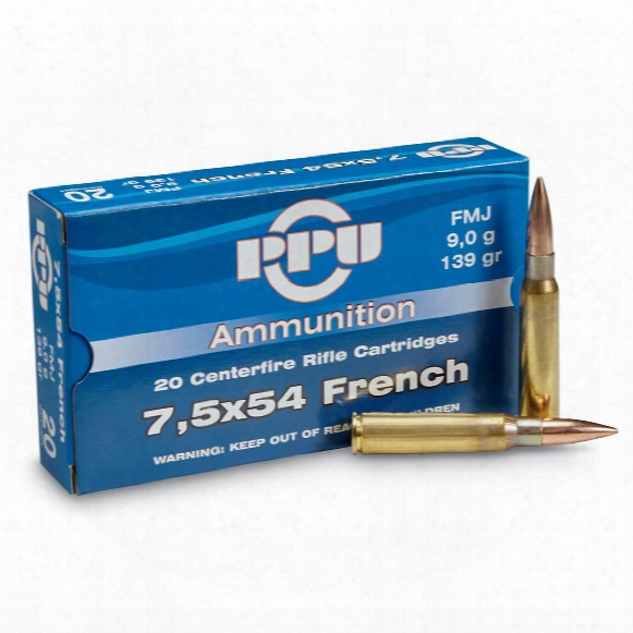 Ppu, 7.5x54 French Mas, Fmj-bt, 139 Grain, 20 Rounds