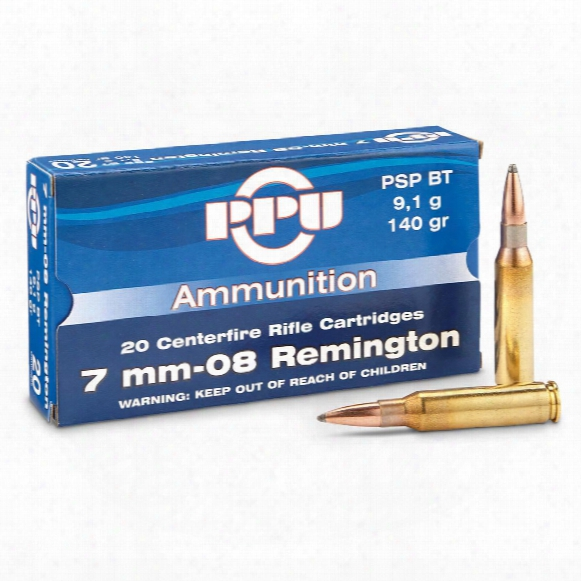 Ppu, 7mm-08 Remington, Psp Bt, 140 Grain, 20 Rounds