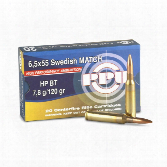 Ppu Match, 6.5x55 Swedish Mauser, Hpbt, 120 Grain, 20 Rounds